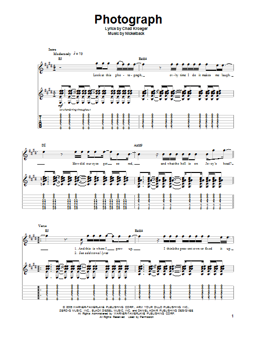 Photograph Sheet Music | Nickelback | Guitar Tab Play-Along