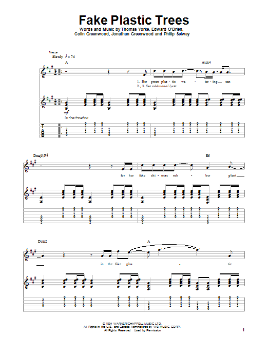 Tablature guitare Fake Plastic Trees de Radiohead - Autre