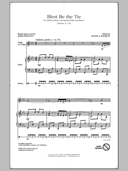 Blest Be The Tie Sheet Music