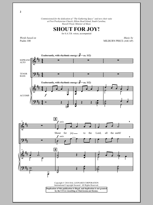 Shout For Joy! Sheet Music