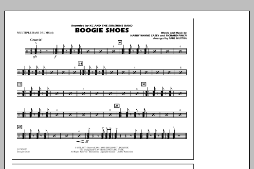 Boogie Shoes - Multiple Bass Drums (Marching Band)