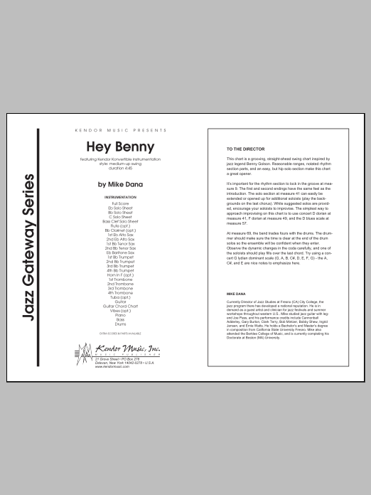 Hey Benny (COMPLETE) sheet music for jazz band by Mike Dana. Score Image Preview.