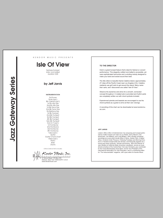Isle Of View (COMPLETE) sheet music for jazz band by Jeff Jarvis. Score Image Preview.