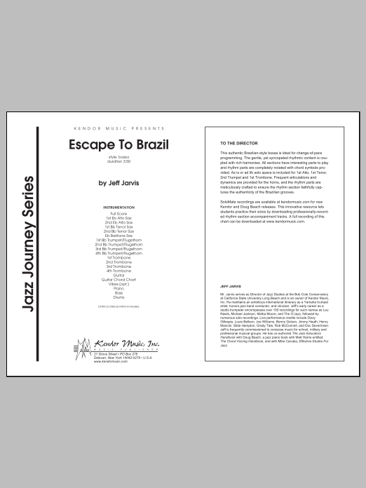 Escape To Brazil (COMPLETE) sheet music for jazz band by Jeff Jarvis. Score Image Preview.