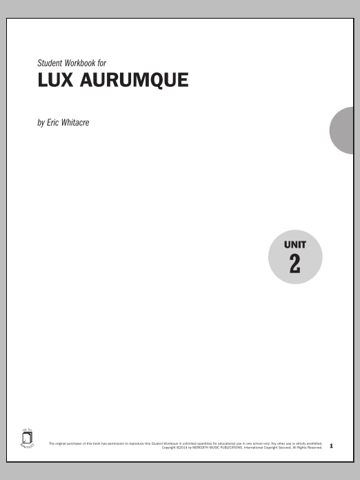 Guides to Band Masterworks, Vol. 4 - Student Workbook - Lux Aurumque Sheet Music