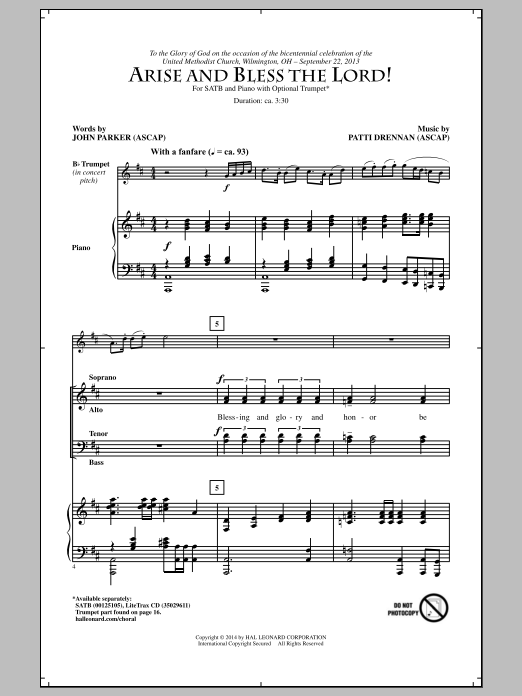 Arise And Bless The Lord! Sheet Music