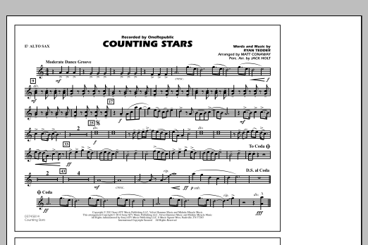 Counting Stars - Eb Alto Sax (Marching Band)