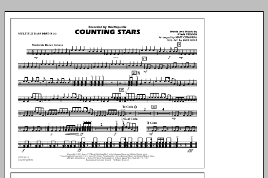 Drum drum chords for counting stars : Counting Stars - Multiple Bass Drums - Sheet Music at Stanton's ...