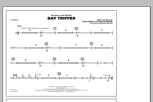 Day Tripper - Cymbals (Marching Band)