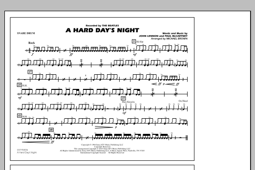 A Hard Day's Night - Snare Drum (Marching Band)