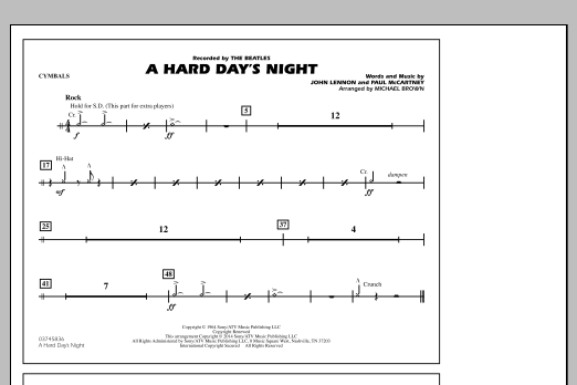 A Hard Day's Night - Cymbals (Marching Band)