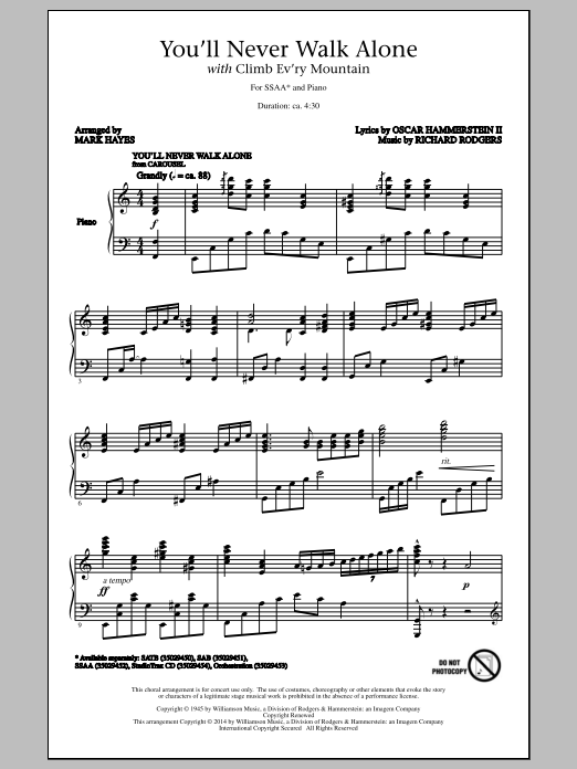 Partition chorale You'll Never Walk Alone (with Climb Every Mountain) (arr. Mark Hayes) de Richard Rodgers - SSA
