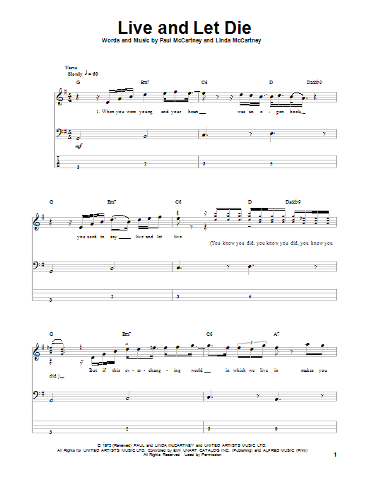 Tablature guitare Live And Let Die de Wings - Tablature Basse