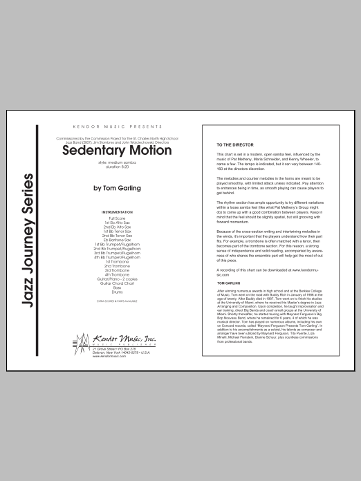 Sedentary Motion (COMPLETE) sheet music for jazz band by Tom Garling. Score Image Preview.