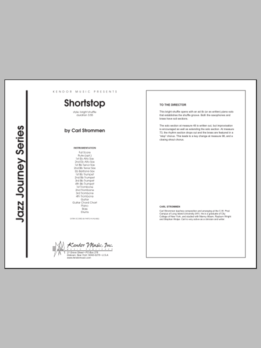 Shortstop (COMPLETE) sheet music for jazz band by Carl Strommen. Score Image Preview.