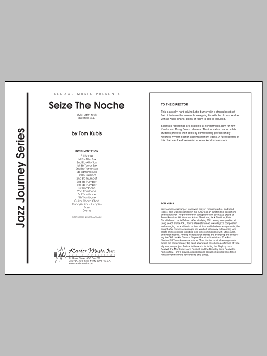 Seize The Noche (COMPLETE) sheet music for jazz band by Tom Kubis. Score Image Preview.