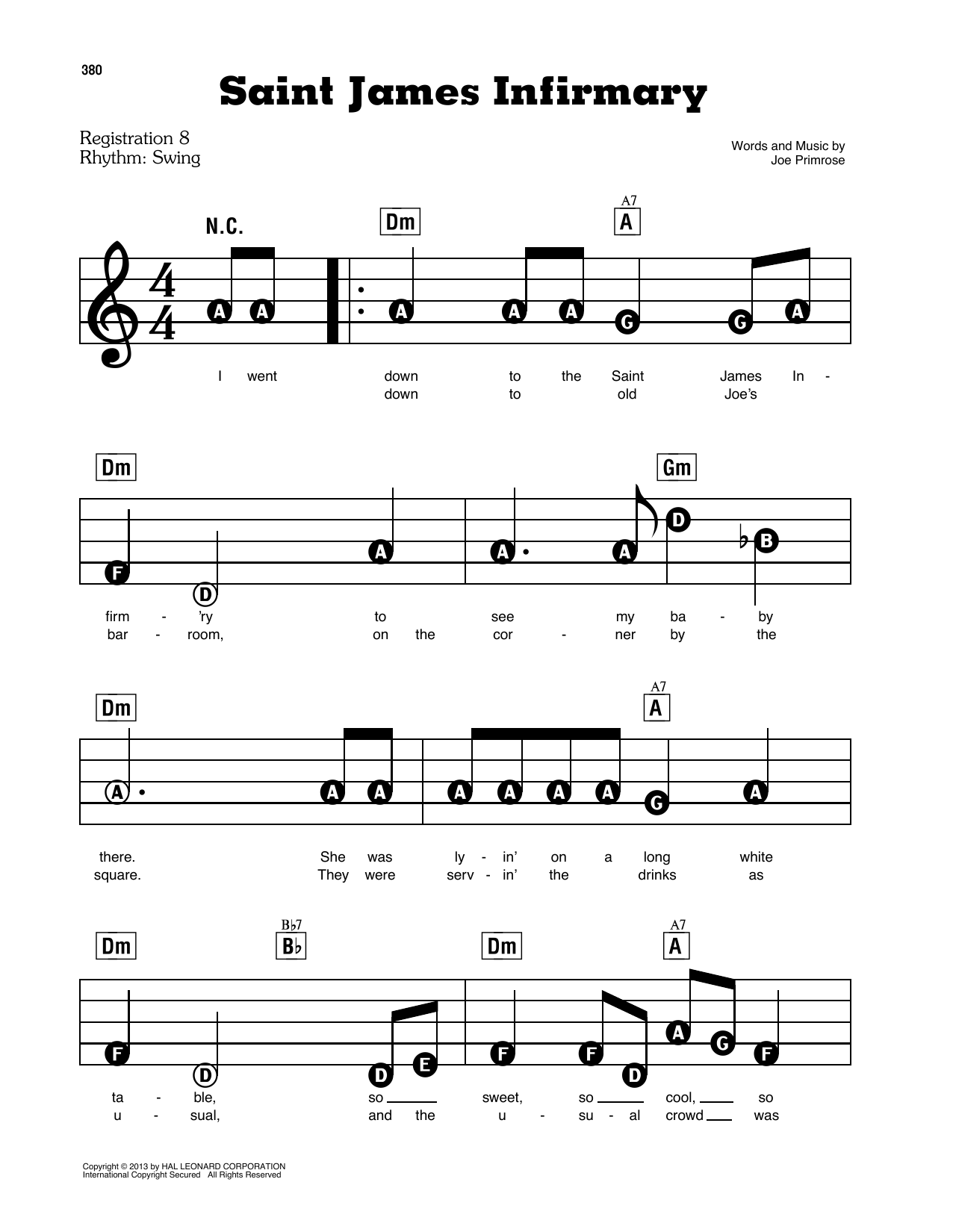 Saint James Infirmary (E-Z Play Today)
