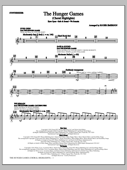 The Hunger Games (complete set of parts) sheet music for orchestra/band by Taylor Swift, Joy Williams, Roger Emerson and Taylor Swift featuring The Civil Wars. Score Image Preview.