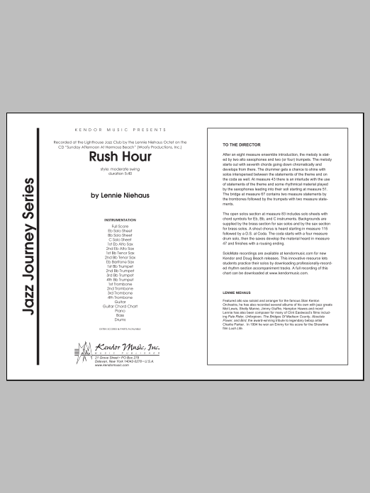 Rush Hour (COMPLETE) sheet music for jazz band by Lennie Niehaus. Score Image Preview.