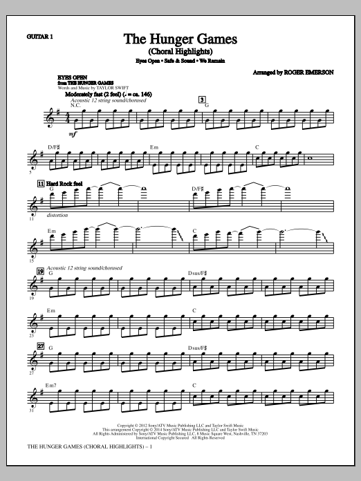 The Hunger Games - Guitar 1 Sheet Music