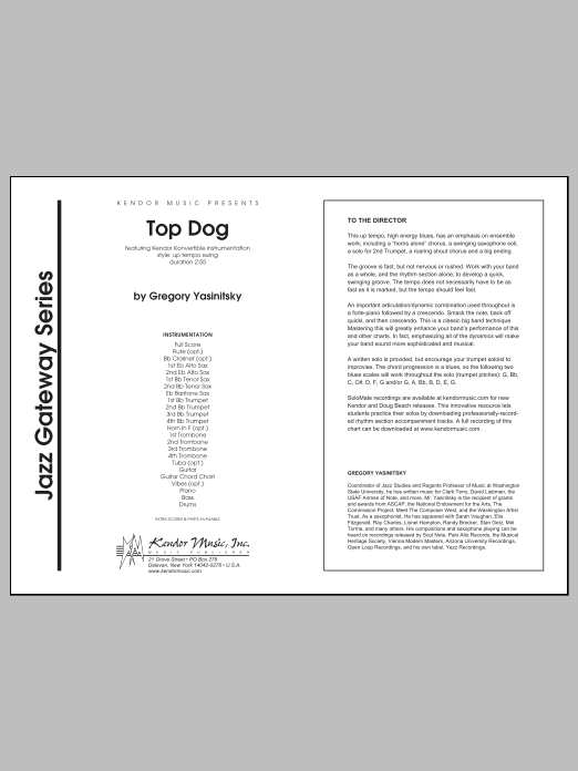 Top Dog (COMPLETE) sheet music for jazz band by Gregory Yasinitsky. Score Image Preview.