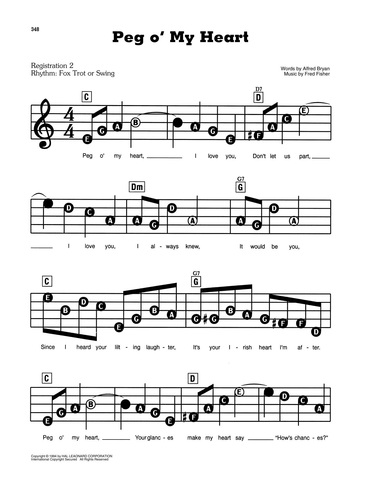 Peg O' My Heart (E-Z Play Today)
