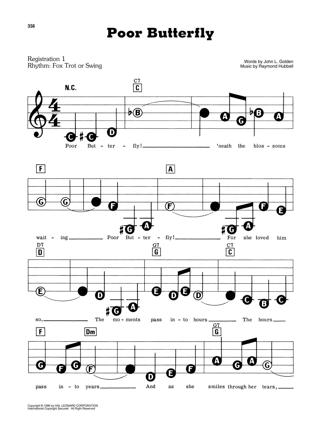 Poor Butterfly Sheet Music