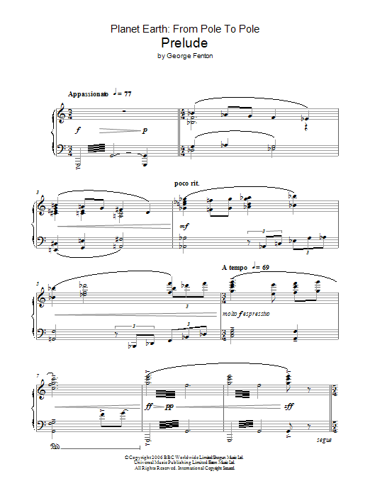 Planet Earth: Prelude Sheet Music