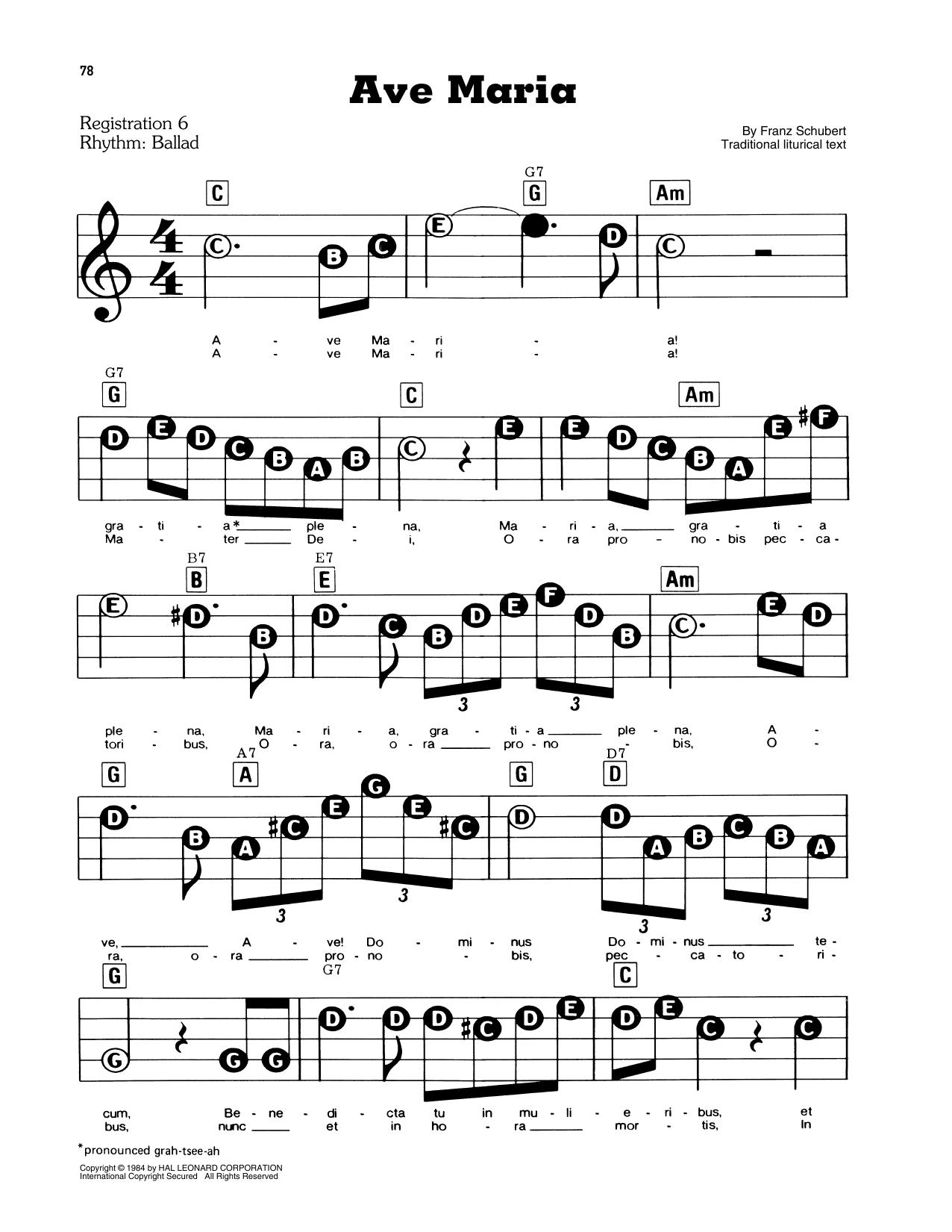 Ave Maria, Op. 52, No. 6 (E-Z Play Today)