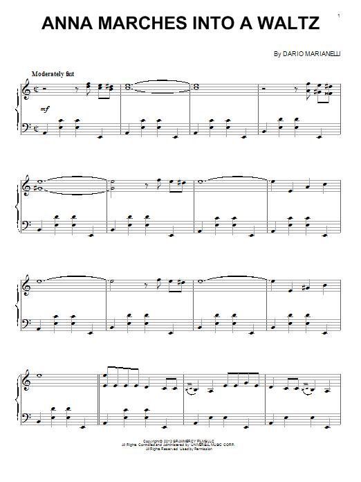 Partition piano Anna Marches Into A Waltz de Dario Marianelli - Piano Solo
