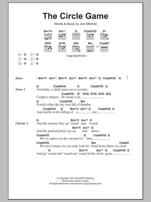 The Circle Game Sheet Music Joni Mitchell Lyrics Chords