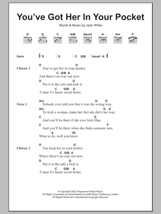 Youve Got Her In Your Pocket By The White Stripes Guitar Chords