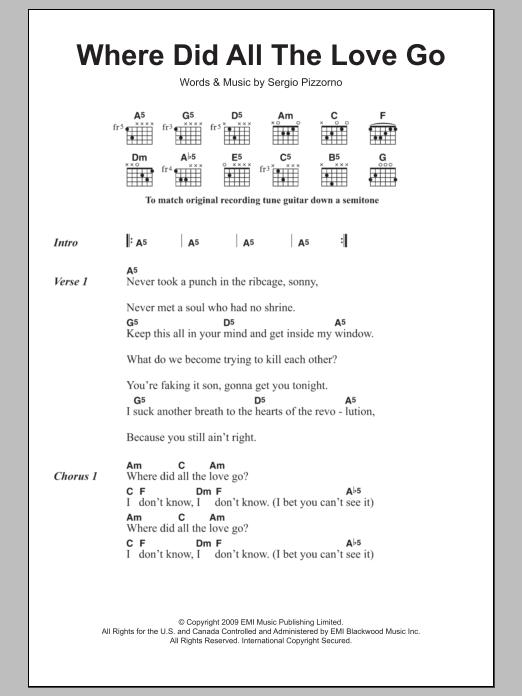 Where Did All The Love Go Sheet Music