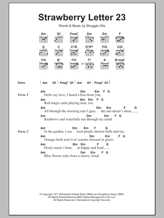 strawberry letter 23 sheet music | the brothers johnson | lyrics