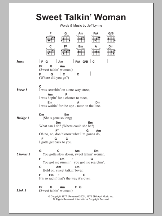 Sweet Talkin\' Woman by Electric Light Orchestra - Guitar Chords ...