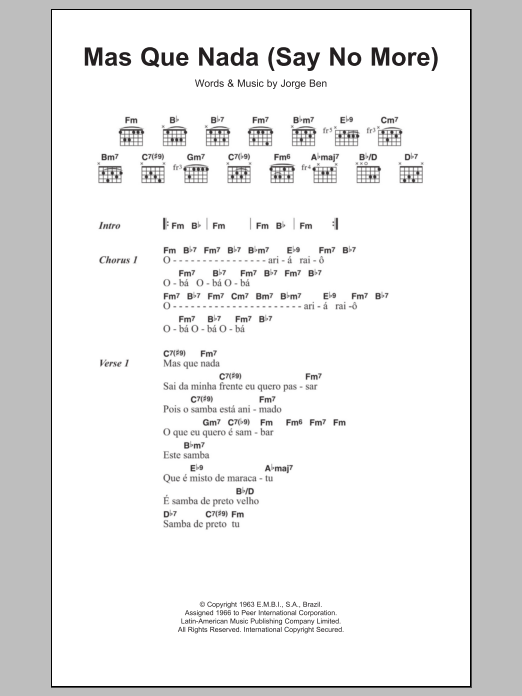 Mas Que Nada (Say No More) Sheet Music