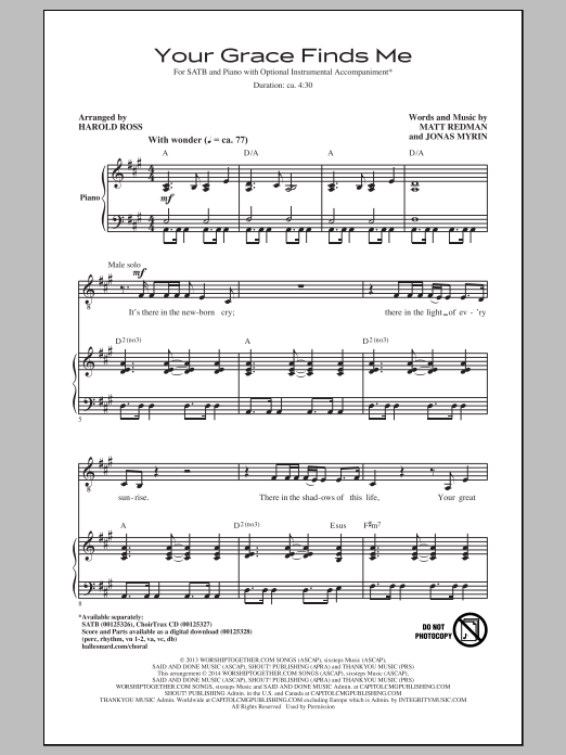 Your Grace Finds Me Sheet Music