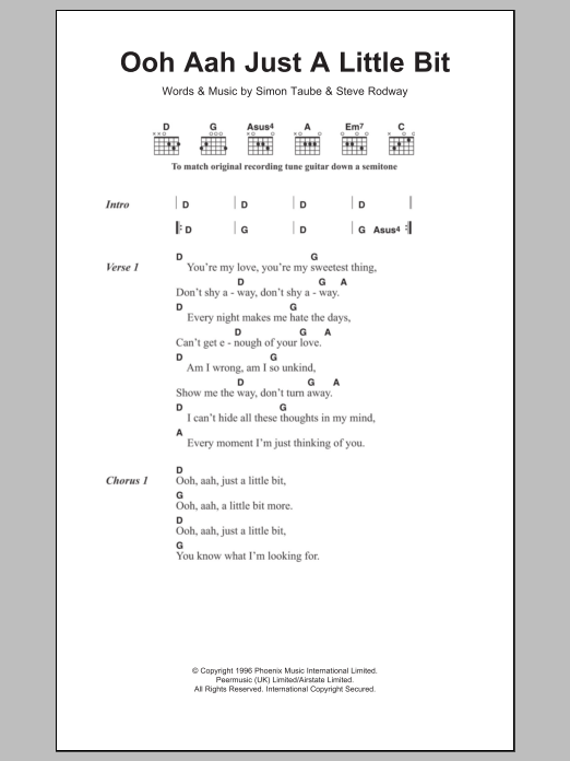 Ooh Aah Just A Little BitGina G Guitar Chords Lyrics