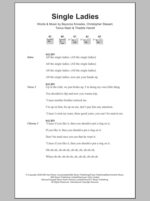 Single Ladies Sheet Music Beyonc Lyrics Chords