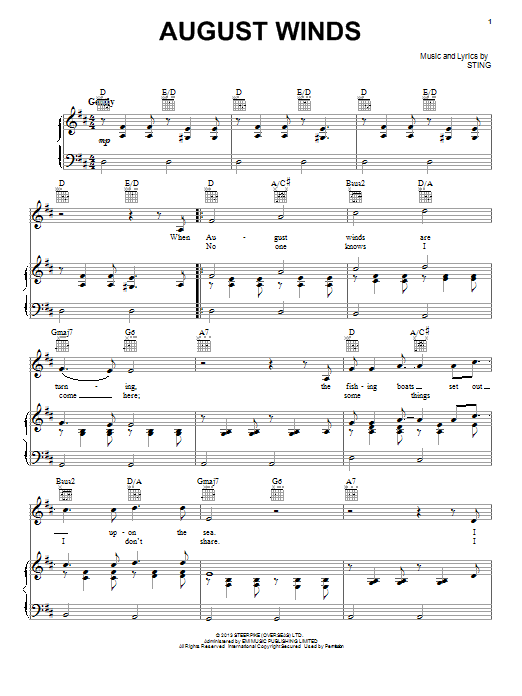 August Winds Sheet Music