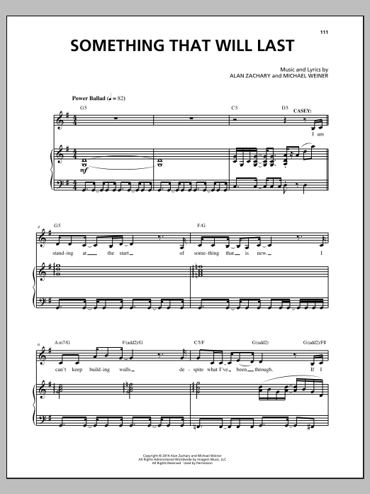 Something That Will Last Sheet Music