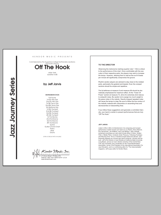 Off The Hook (COMPLETE) sheet music for jazz band by Jeff Jarvis. Score Image Preview.