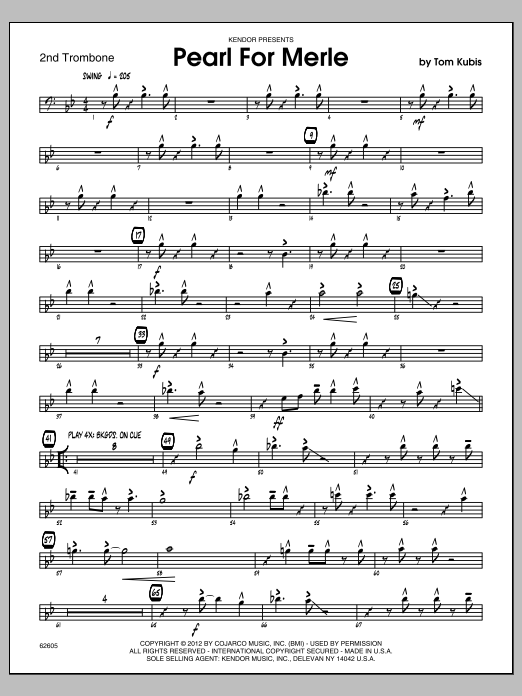 Pearl For Merle - 2nd Trombone (Jazz Ensemble)