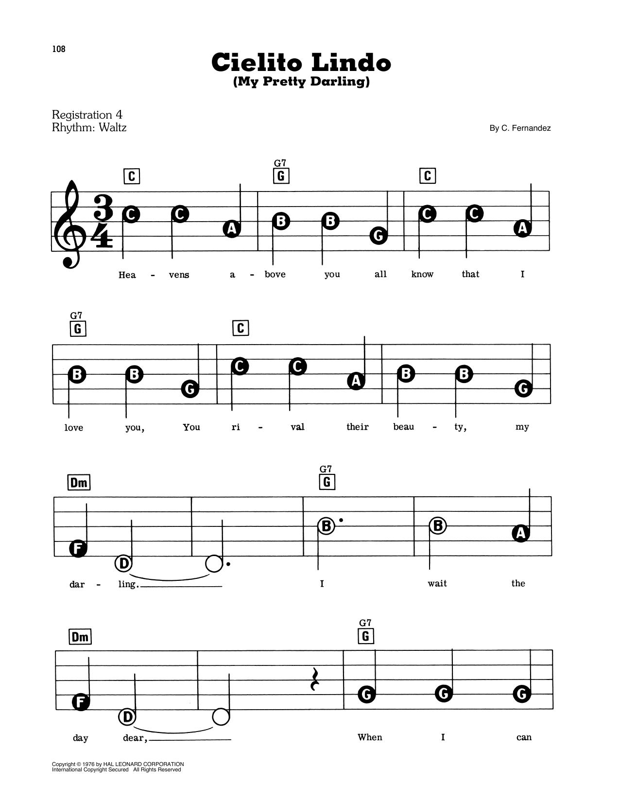 Cielito Lindo (My Pretty Darling) (E-Z Play Today)