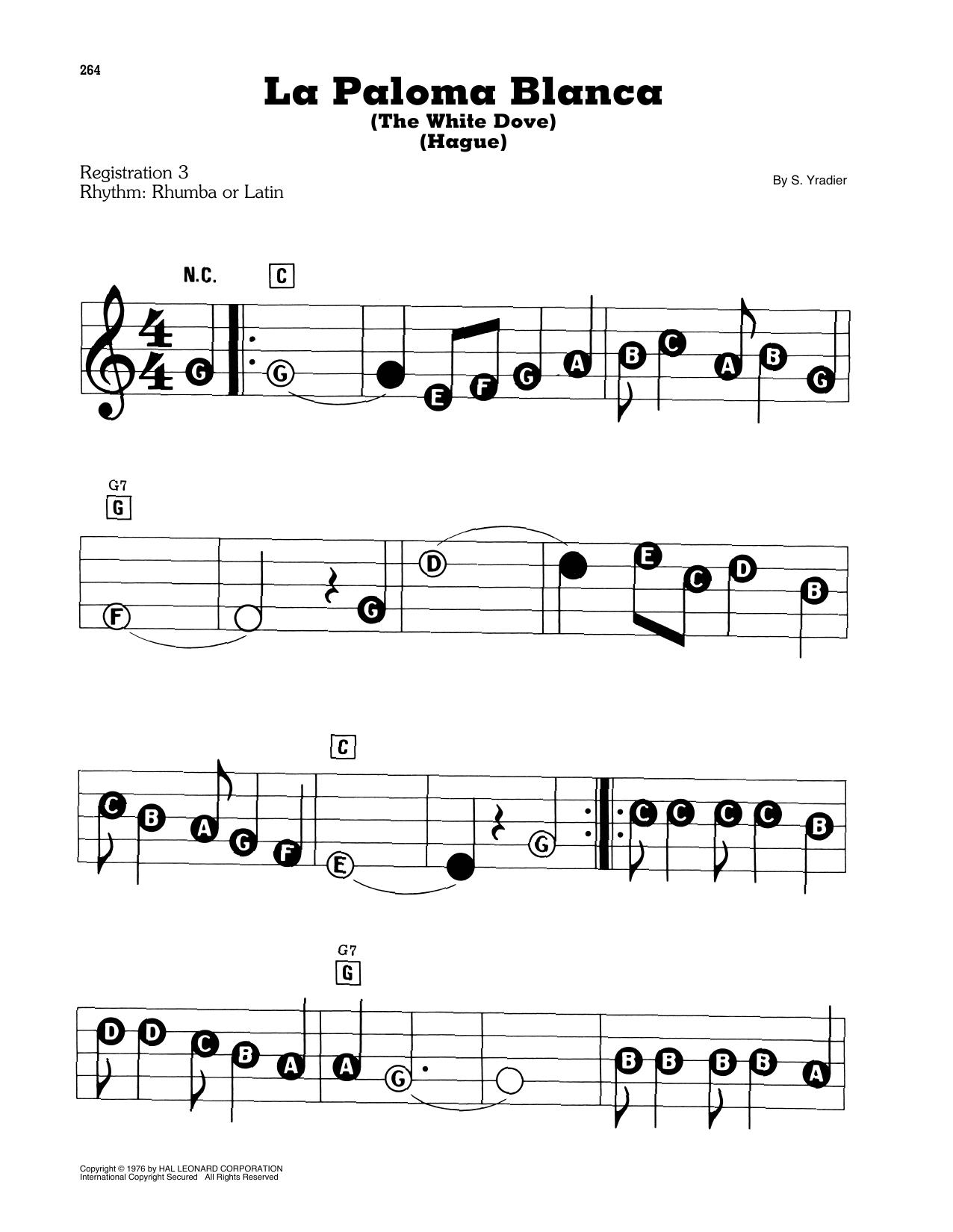 La Paloma Blanca (The White Dove) (E-Z Play Today)