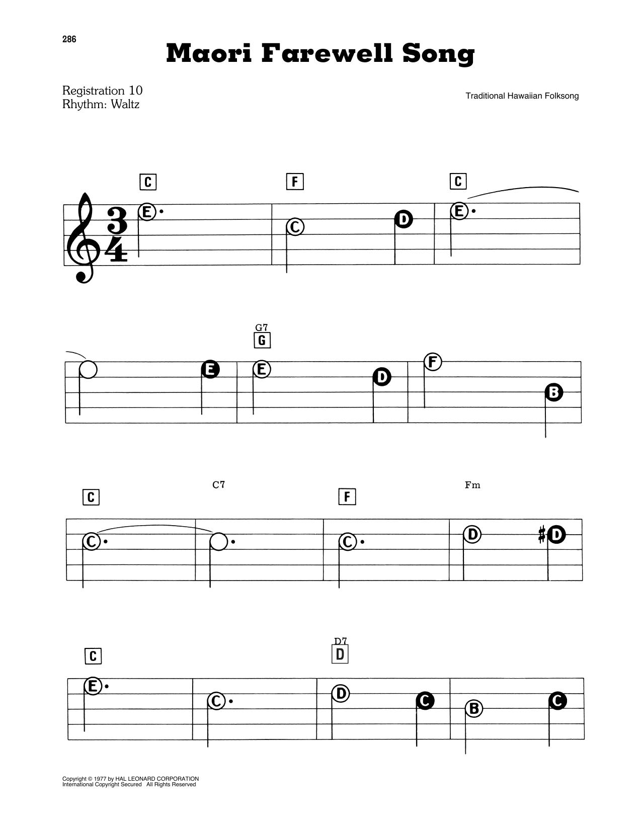 Maori Farewell Song (E-Z Play Today)