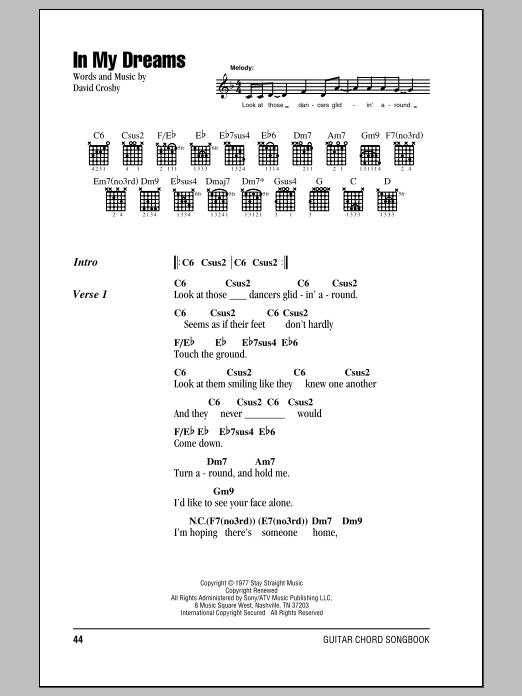 In My Dreams by Crosby, Stills & Nash Guitar Chords/Lyrics Digital Sheet  Music