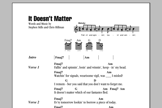 It Doesn't Matter Sheet Music