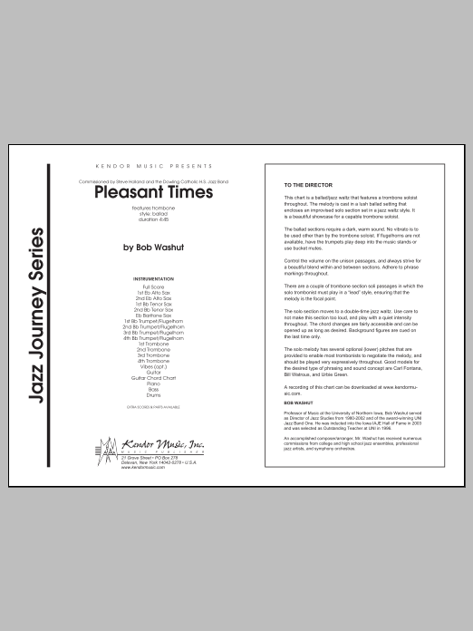 Pleasant Times (COMPLETE) sheet music for jazz band by Bob Washut. Score Image Preview.