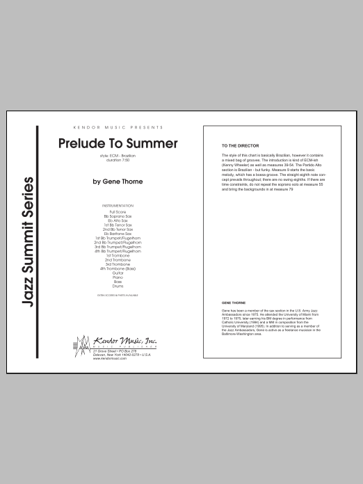 Prelude To Summer (COMPLETE) sheet music for jazz band by Gene Thorne. Score Image Preview.